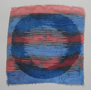 Blue Red Yantra, woodcut on chiffon with ink and sewing, 2012