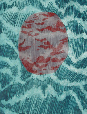 Yantra 4, woodcut on fabric with sewing, 2012